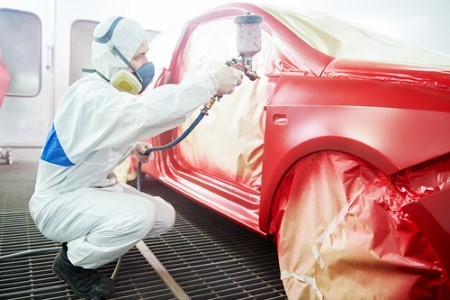 car being painted red